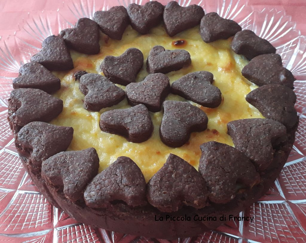 Crostata al cacao e ricotta con profumo di arancia